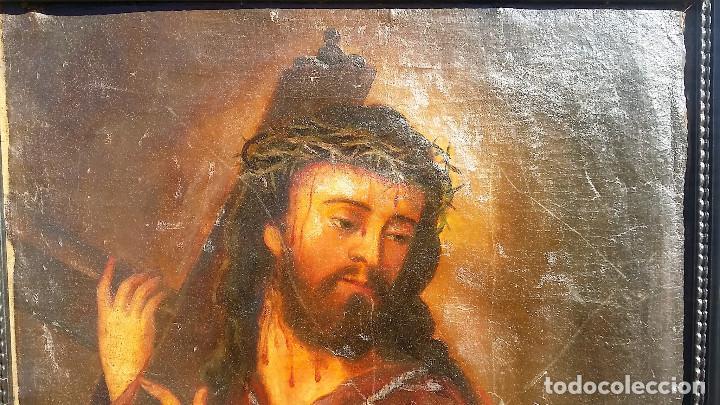 Arte: CRISTO CON LA CRUZ OLEO MUY ANTIGUO - Foto 10 - 136138770
