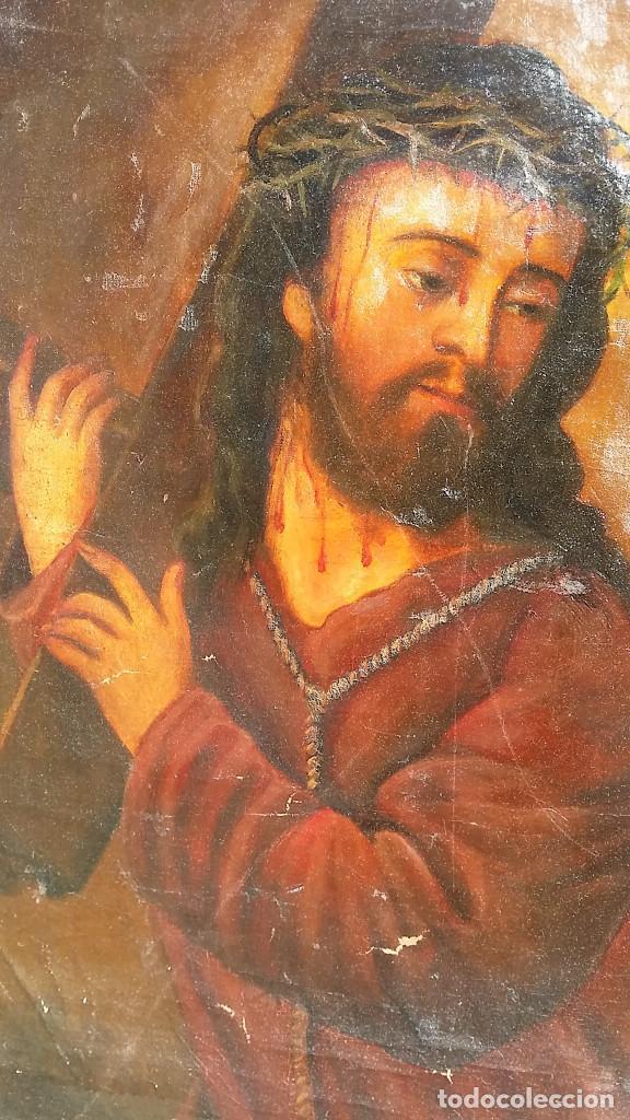 Arte: CRISTO CON LA CRUZ OLEO MUY ANTIGUO - Foto 12 - 136138770