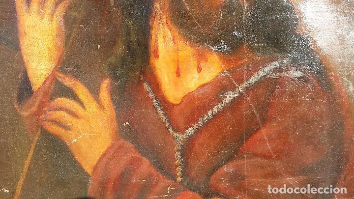 Arte: CRISTO CON LA CRUZ OLEO MUY ANTIGUO - Foto 14 - 136138770