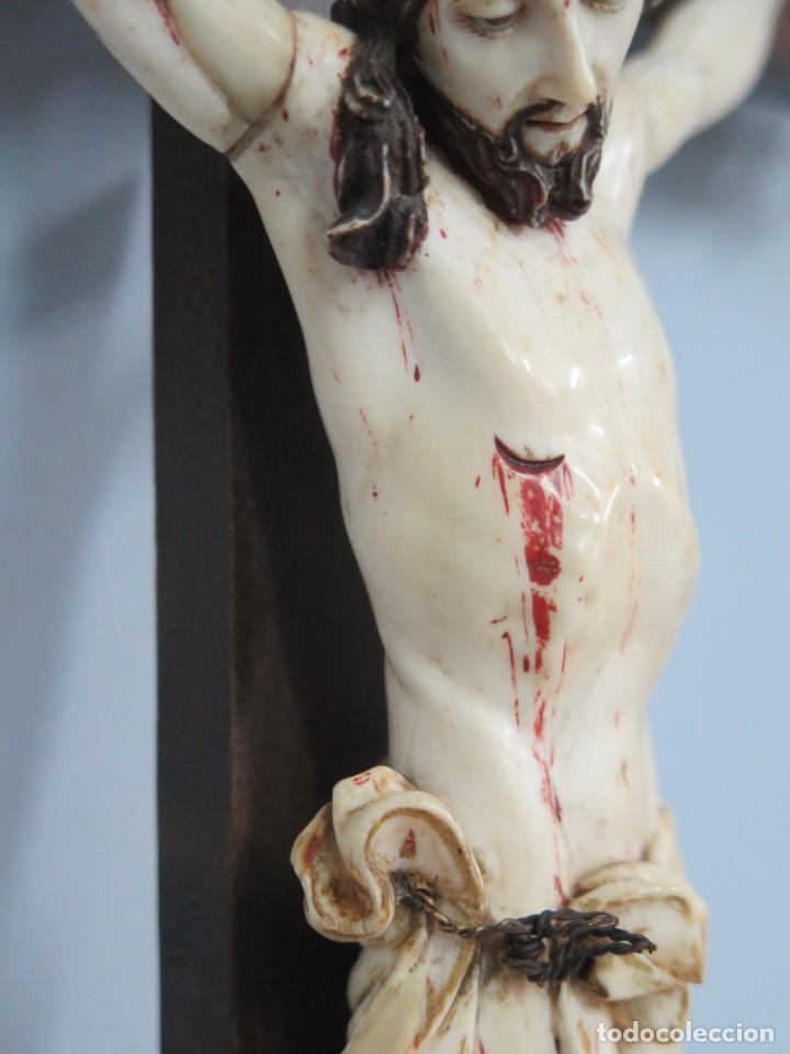 Arte: MAGNIFICO CRISTO HISPANOFILIPINO DE MARFIL. SIGLO XVII-XVIII. GRAN TRATAMIENTO ANATOMIA - Foto 12 - 136169366