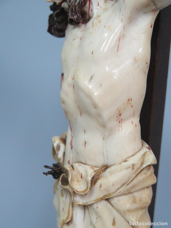 Arte: MAGNIFICO CRISTO HISPANOFILIPINO DE MARFIL. SIGLO XVII-XVIII. GRAN TRATAMIENTO ANATOMIA - Foto 14 - 136169366