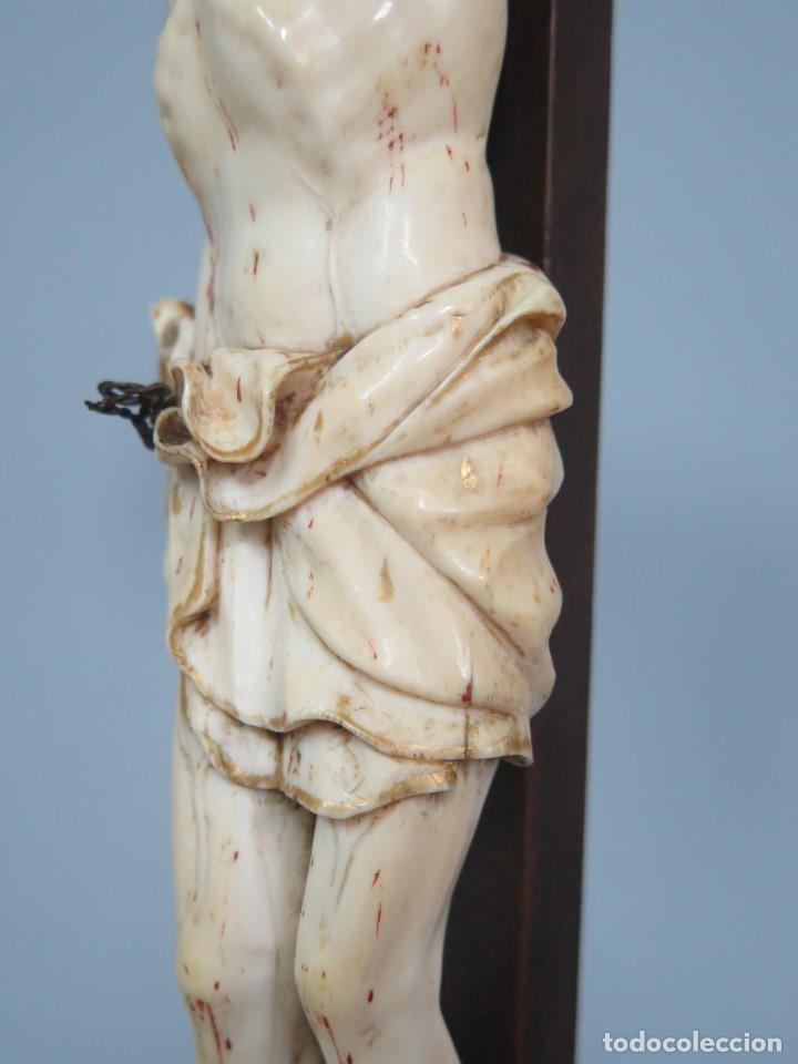 Arte: MAGNIFICO CRISTO HISPANOFILIPINO DE MARFIL. SIGLO XVII-XVIII. GRAN TRATAMIENTO ANATOMIA - Foto 21 - 136169366