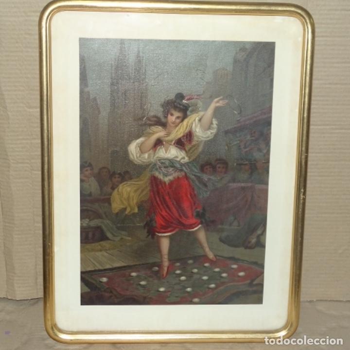 Arte: Grabado antiguo en marco dorado epoca. - Foto 2 - 136369682