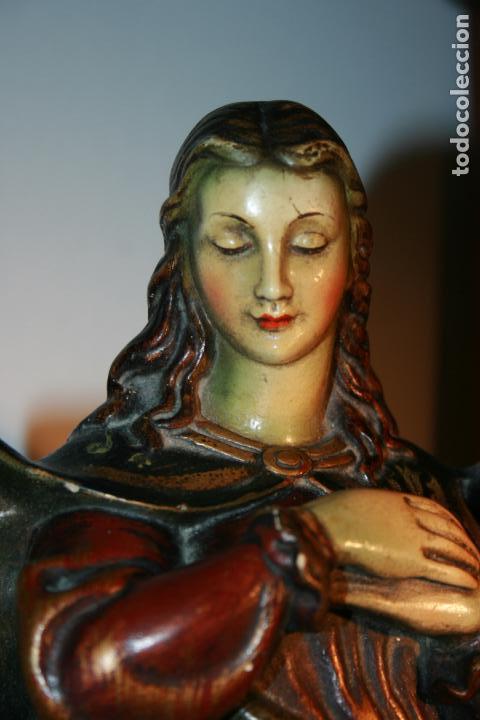 Arte: Preciosa imagen de la Inmaculada Concepción policromada. escayola o pasta. Mide 46 x 17 cms - Foto 3 - 136546758