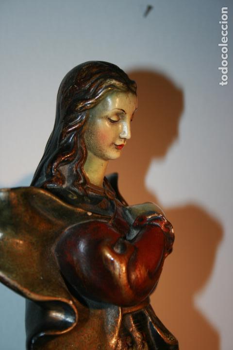 Arte: Preciosa imagen de la Inmaculada Concepción policromada. escayola o pasta. Mide 46 x 17 cms - Foto 9 - 136546758