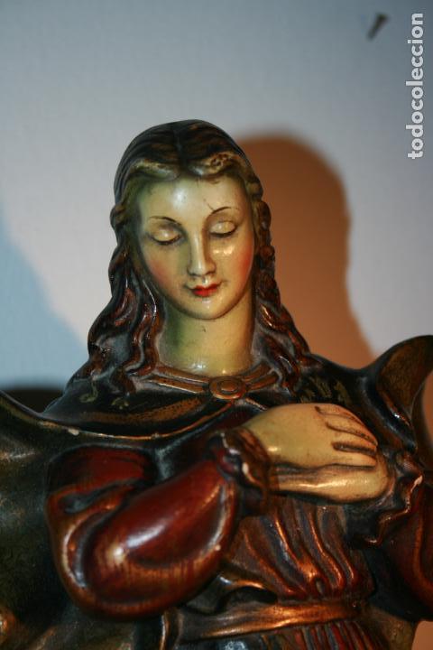 Arte: Preciosa imagen de la Inmaculada Concepción policromada. escayola o pasta. Mide 46 x 17 cms - Foto 17 - 136546758