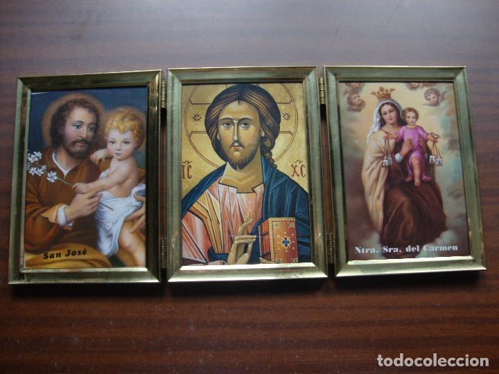 PRECIOSO TRIPTICO DE MESA EN DORADO LA PARTE DE ATRAS EN MADERA DIMENSIONES ABIERTO 36 X 16 CM (Arte - Arte Religioso - Trípticos)