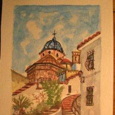 Arte: ACUARELA ORIGINAL ANTIGUA ALTEA ALICANTE FIRMADA POR IGLESIAS. Lote 136821610