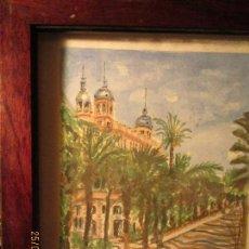 Arte: CUADRO ACUARELA ORIGINAL EXPLANADA EDIFICIO CARBONELL ALICANTE Y CASTILLO FIRMA I GARRIDO . Lote 136828830