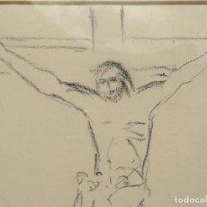 Arte: CRISTO DEL PINTOR OCAÑA BOCETO FIRMADO Y ENMARCADO. Lote 137319354