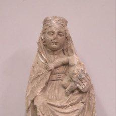 Arte: BONITA FIGURA DE VIRGEN DEL PILAR DE YESO PATINADA PIEDRA. SIGUIENDO MODELOS ANTIGUOS. Lote 137452318