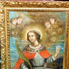 Arte: PROMO 72H... OLEO EPOCA FIN XVIII PPS XIX ANGELES ANGELOTES ANGELITOS Y SANTA SANTO SAN JUDAS?. Lote 137496254