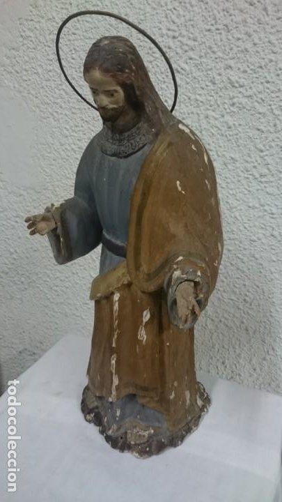 Arte: Antigua talla de madera policromada de San José del siglo XVIII con corona. 50 cm alto. - Foto 4 - 137561234