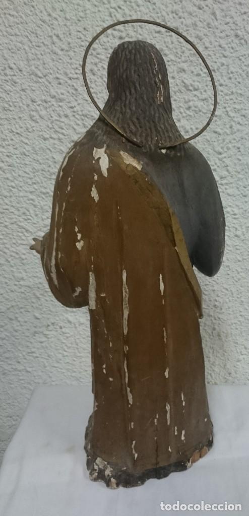 Arte: Antigua talla de madera policromada de San José del siglo XVIII con corona. 50 cm alto. - Foto 5 - 137561234