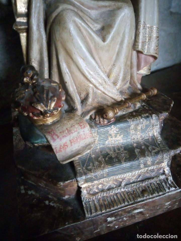 Arte: Antiguo Sagrado Corazón Entronizado en estuco policromado. - Foto 9 - 137504278