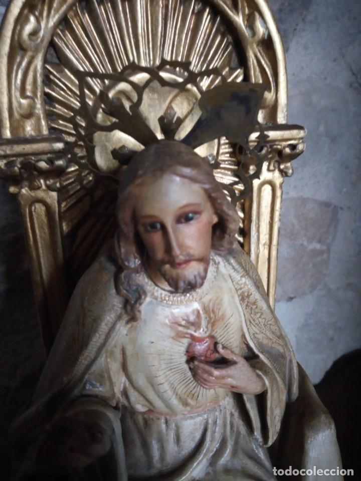 Arte: Antiguo Sagrado Corazón Entronizado en estuco policromado. - Foto 10 - 137504278