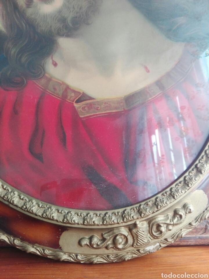 Arte: BELLO CUADRO CABECERO CRISTO DE CON CORONA DE ESPINAS Ecce Homo 70 cm CROMOLITOGRAFIA 70 CM - Foto 3 - 219327867