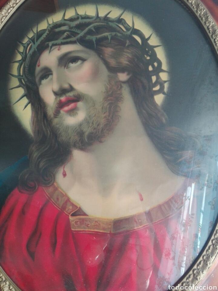 Arte: BELLO CUADRO CABECERO CRISTO DE CON CORONA DE ESPINAS Ecce Homo 70 cm CROMOLITOGRAFIA 70 CM - Foto 12 - 219327867