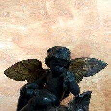 Arte: ESCULTURA TALLA EN MADERA ANGEL QUERUBIN. Lote 137737066