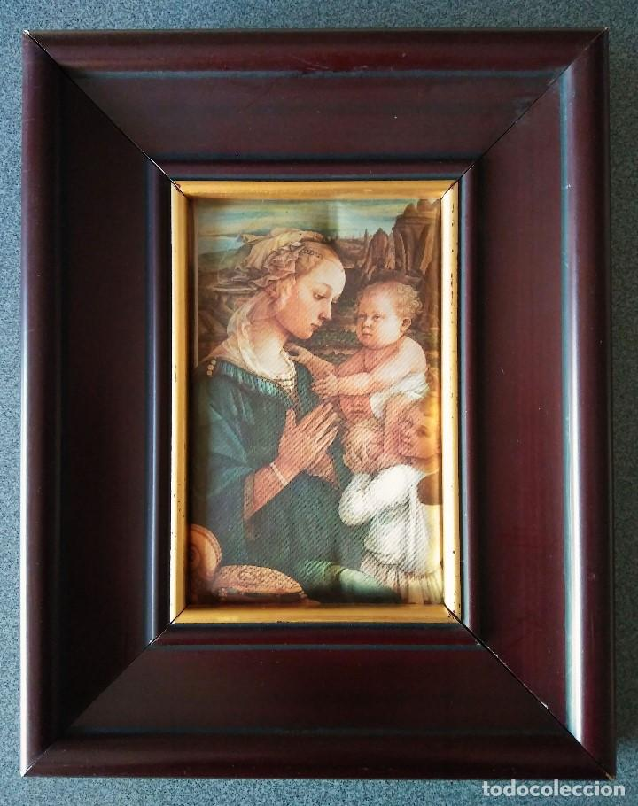 FRA FILIPPO LIPPI VIRGEN CON NIÑO EN SEDA ACOLCHADA (Arte - Arte Religioso - Pintura Religiosa - Otros)
