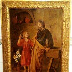 Arte: SAGRADA FAMILIA. SAN JOSE Y EL NIÑO JESUS. LITOGRAFIA ANTIGUA SOBRE TABLA. MARCO EN PAN DE ORO.. Lote 137842070