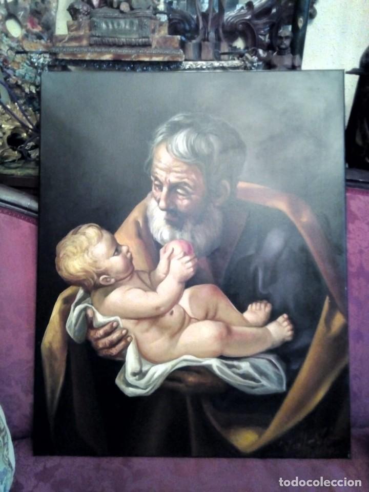 SAN JOSÉ CON EL NIÑO JESÚS. JOLOGA. LIENZO 81X65. ELIGE MARCO A TU GUSTO. (Arte - Arte Religioso - Pintura Religiosa - Oleo)