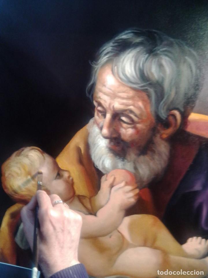 Arte: SAN JOSÉ CON EL NIÑO JESÚS. JOLOGA. LIENZO 81X65. ELIGE MARCO A TU GUSTO. - Foto 2 - 137868570