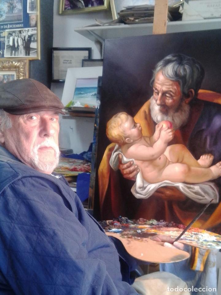 Arte: SAN JOSÉ CON EL NIÑO JESÚS. JOLOGA. LIENZO 81X65. ELIGE MARCO A TU GUSTO. - Foto 3 - 137868570