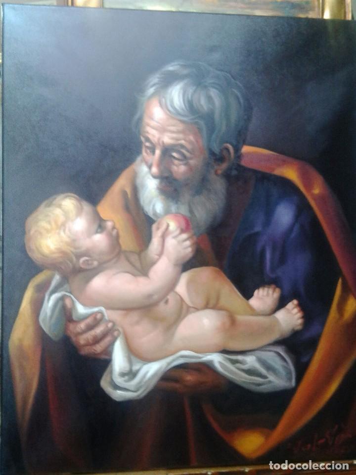 Arte: SAN JOSÉ CON EL NIÑO JESÚS. JOLOGA. LIENZO 81X65. ELIGE MARCO A TU GUSTO. - Foto 4 - 137868570