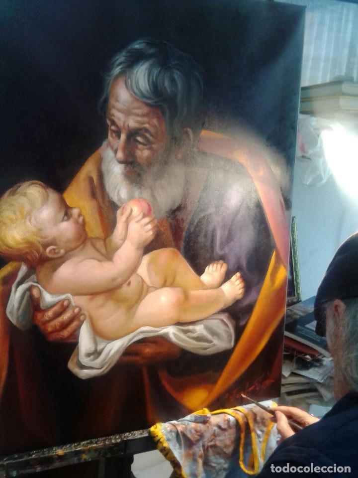Arte: SAN JOSÉ CON EL NIÑO JESÚS. JOLOGA. LIENZO 81X65. ELIGE MARCO A TU GUSTO. - Foto 5 - 137868570