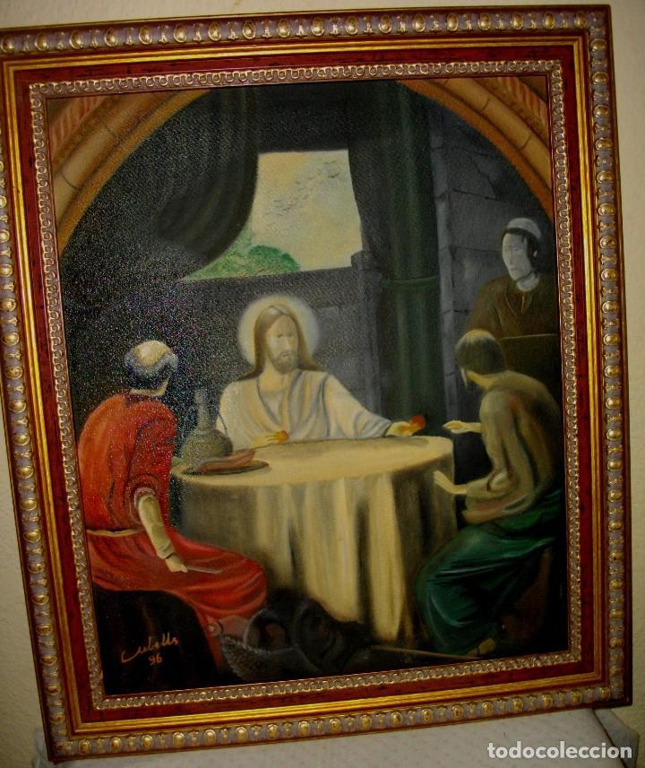 OLEO SOBRE LIENZO FIRMADO CUBELLES ( 57 X 46 CTMS CON MARCO INCLUIDO (Arte - Arte Religioso - Pintura Religiosa - Oleo)