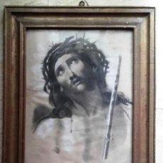 Arte: ANTIGUO DIBUJO ORIGINAL A PASTEL. CRISTO CORONADO DE ESPINAS. ECCE HOMO.. Lote 137895894
