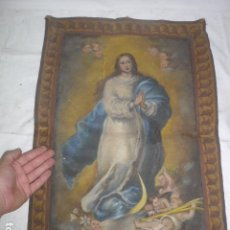 Arte: ANTIGUA PINTURA OLEO SOBRE TELA RIGIDA, RELIGIOSA, VIRGEN. DEBE SER SIGLO XVIII - XIX. ORIGINAL.. Lote 141633630