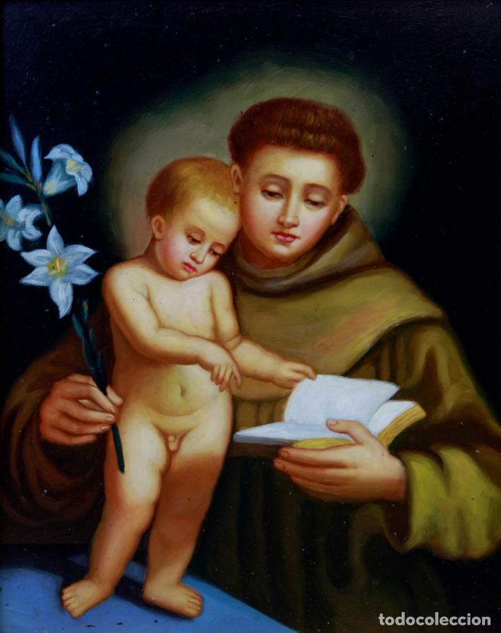 ÓLEO S/COBRE -SAN ANTONIO- S. XIX, MUY BIEN ENMARCADO. DIM.- 34X29 CMS. (Arte - Arte Religioso - Pintura Religiosa - Oleo)
