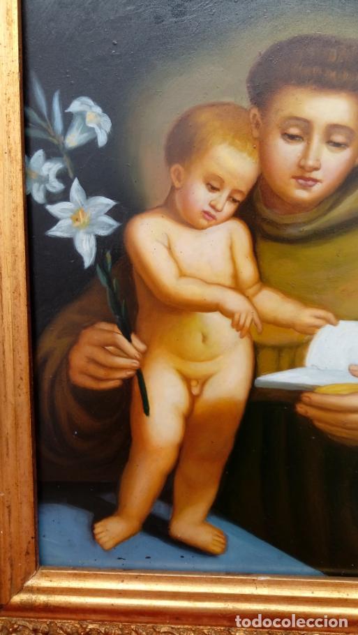 Arte: ÓLEO S/COBRE -SAN ANTONIO- S. XIX, MUY BIEN ENMARCADO. DIM.- 34X29 CMS. - Foto 4 - 137939146