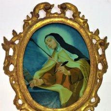 Arte: SANTA TERESA DE JESÚS. PINTURA SOBRE CRISTAL. ANÓNIMO. ESPAÑA. SIGLO XVIII. Lote 138002378
