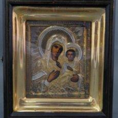 Arte: ICONO RUSO VIRGEN CON NIÑO ENMARCADO EN URNA CON CRISTAL INSCRIPCIÓN AL DORSO 1909. Lote 138100122
