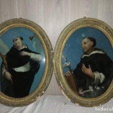 Arte: PAREJA OLEOS SOBRE CRISTAL S.XVIII SAN VICENTE FERRER Y SANTO DOMINGO. Lote 138227022