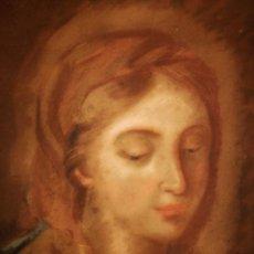 Arte: MAGISTRAL RETRATO DE LA VIRGEN DEL SIGLO XVIII, GRAN CALIDAD, POSIBLEMENTE ESCUELA FRANCESA, PASTEL. Lote 31899481