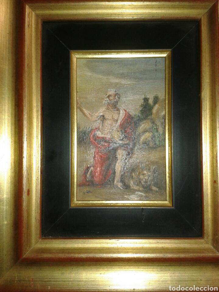 ANTIGUA PINTURA AL OLEO SOBRE TABLA (Arte - Arte Religioso - Pintura Religiosa - Oleo)