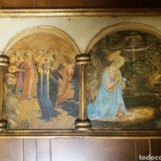 Arte: TRIPTICO RELIGIOSO DE LAMINAS EN CUADRO DECORADO DE 83X35 CM. Lote 138397293