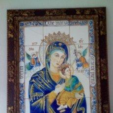 Arte: SIGLO XIX. CUADRO-RETABLO CERÁMICO DE VIRGEN DEL PERPETUO SOCORRO CON NIÑO JESUS.. Lote 138554322