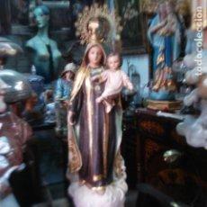 Arte: VIRGEN DEL CARMEN TALLA DE MADERA CON DOBLE PEANA . Lote 138642094