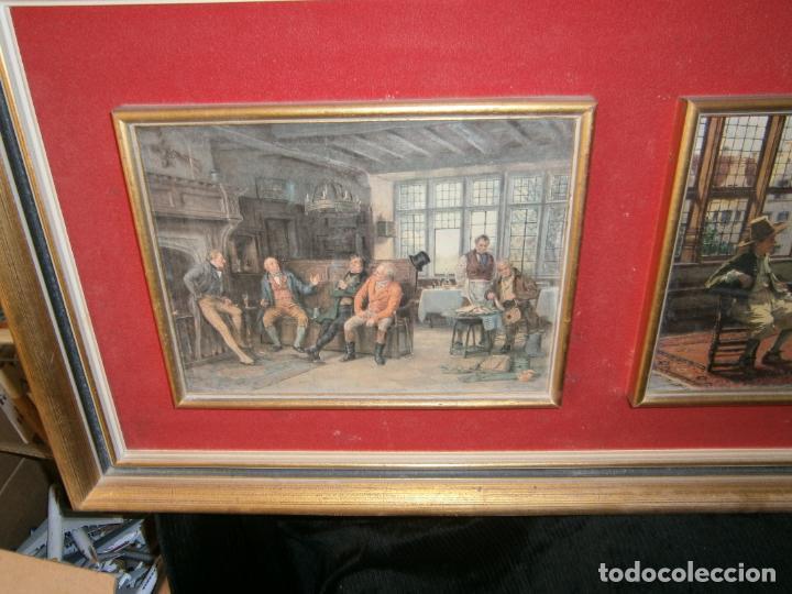 Arte: TRÍPTICO BASE DE MADERA FORRADO CON ANTELINA? Y TRES LAMINAS COSTUMBRISTAS M:103X38X5 CM. - Foto 3 - 138645458