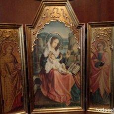 Art: TRÍPTICO MADERA JESÚS MARÍA ÁNGELES ESTILO BAÚL 50 X 48 CM. Lote 138663710