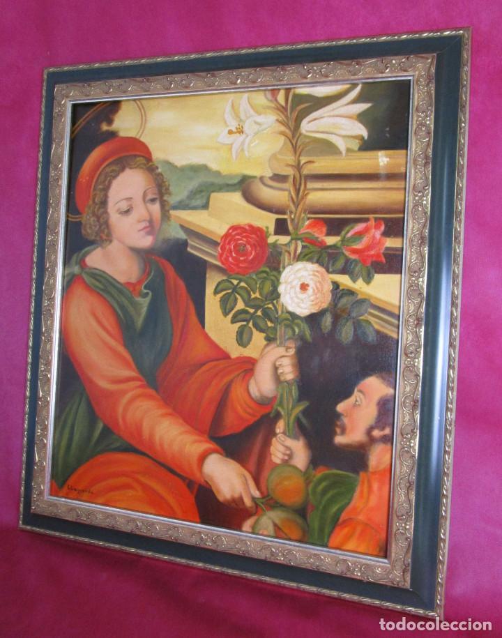 PRECIOSA ESCENA RELIGIOSA IMAGEN SANTA DOROTEA Y SAN TEOFILO S. XX ELENA ALAGARDA (Arte - Arte Religioso - Pintura Religiosa - Oleo)