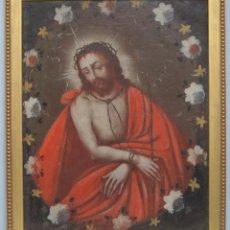 Arte: PRECIOSO ECCE HOMO EN ORLA DE FLORES. SIGLO XVII. ESCUELA ESPAÑOLA. Lote 138905270