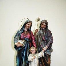 Arte: FIGURA RELIGIOSA SAGRADA FAMILIA PASTA ANTIGUA OLOT. Lote 138965014
