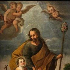 Arte: SAN JOSE CON EL NIÑO, ESCUELA COLONIAL ,S. XVIII. Lote 138998954