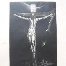 Arte: ANTIGUO GRABADO CRISTO CRUCIFICADO GRECO- FIRMADO A LAPIZ 6/24. Lote 139080450